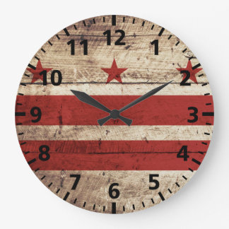 Washington DC Flag on Old Wood Grain Large Clock