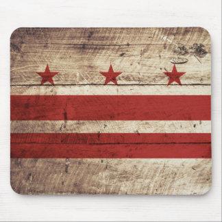 Washington DC Flag on Old Wood Grain Mouse Mat
