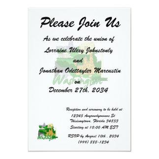 washington dc  green america city travel vacation. 13 cm x 18 cm invitation card