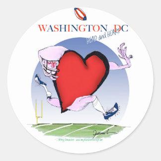 Washington DC head heart, tony fernandes Round Sticker