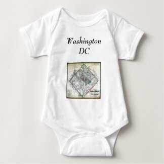 Washington DC  Map and Flag Baby Bodysuit