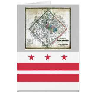 Washington DC  Map and Flag Card