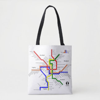 Washington DC Metro Subway Map Tote Bag