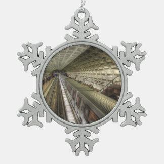Washington DC Metro Train Station Snowflake Pewter Christmas Ornament