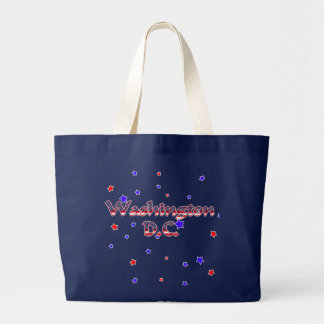 Washington DC Patriotic Stars Large Tote Bag