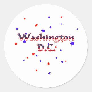 Washington DC Patriotic Stars Round Sticker