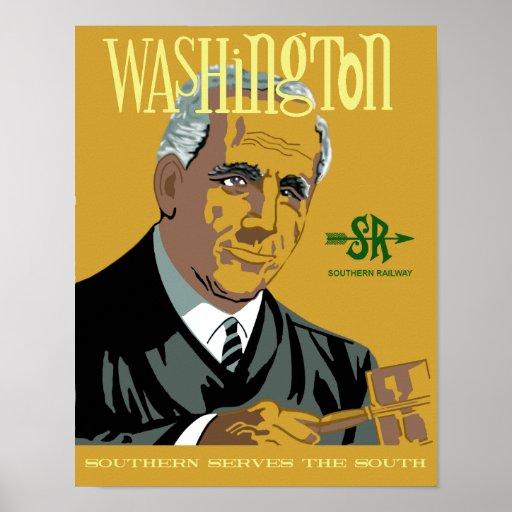 Washington, DC.  Retro style travel poster