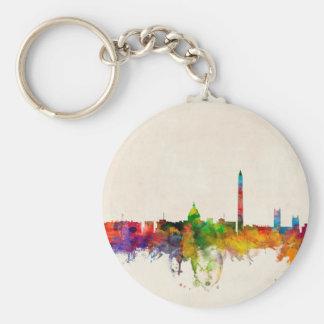 Washington DC Skyline Cityscape Basic Round Button Key Ring