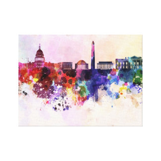 Washington DC skyline in watercolor background Stretched Canvas Prints