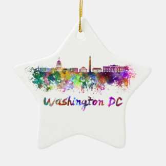 Washington DC skyline in watercolor Ceramic Star Decoration