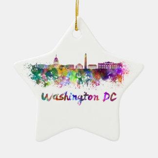Washington DC skyline in watercolor Christmas Ornament