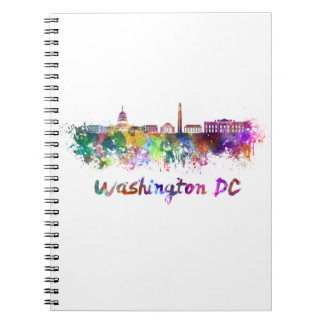 Washington DC skyline in watercolor Notebook