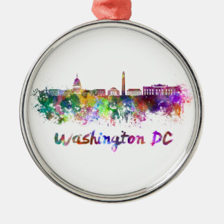 Washington DC skyline in watercolor Silver-Colored Round Decoration