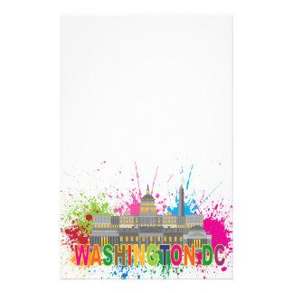 Washington DC Skyline Paint Splatter Illustration Personalized Stationery