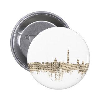 Washington DC Skyline Sheet Music Cityscape 6 Cm Round Badge