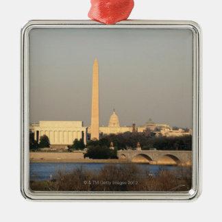 Washington DC Skyline Silver-Colored Square Decoration