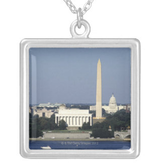 Washington DC Skyline with US Capitol Building 2 Silver Plated Necklace