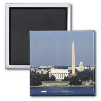 Washington DC Skyline with US Capitol Building 2 Square Magnet