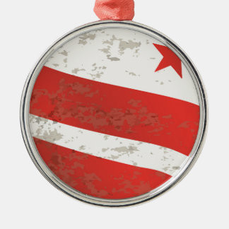 Washington DC State Flag Silver-Colored Round Decoration