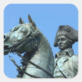 Washington, DC, statue of General George Square Sticker