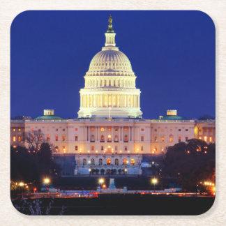 Washington DC United States Capitol at Dusk Square Paper Coaster