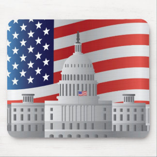 Washington DC US Capitol Building with US Flag Mouse Pad