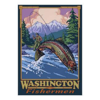 Washington Fisherman - Fly Fishing Travel Poster