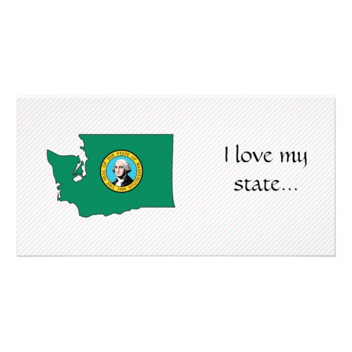 Washington Flag Map Personalized Photo Card