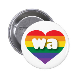 Washington gay pride rainbow heart - mini love 6 cm round badge