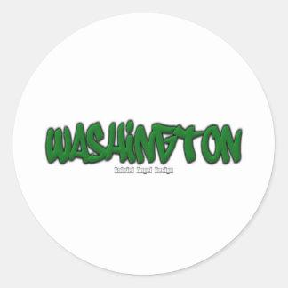 Washington Graffiti Round Stickers