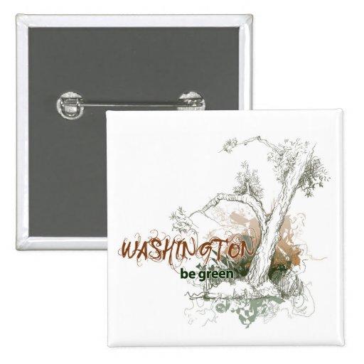 Washington Green Tree Button