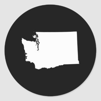 Washington in White and Black Classic Round Sticker