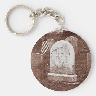Washington Irving's tombstone Basic Round Button Key Ring