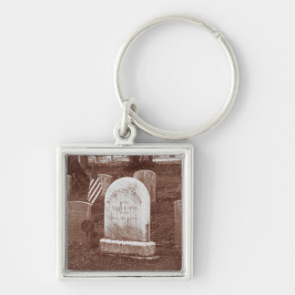 Washington Irving's tombstone Silver-Colored Square Key Ring