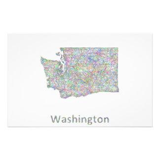 Washington map 14 cm x 21.5 cm flyer