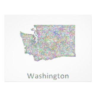 Washington map 21.5 cm x 28 cm flyer