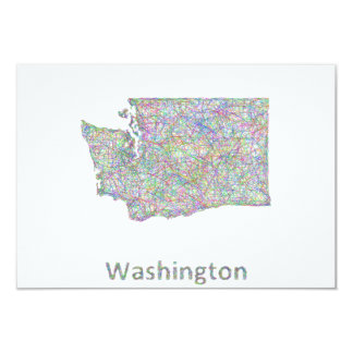 Washington map 9 cm x 13 cm invitation card