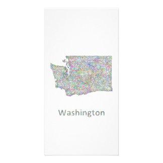 Washington map custom photo card