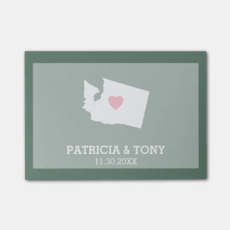Washington Map Home State Love with Custom Heart Post-it Notes