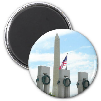 Washington Monument and WWII Memorial in DC 6 Cm Round Magnet