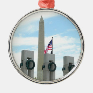 Washington Monument and WWII Memorial in DC Silver-Colored Round Decoration