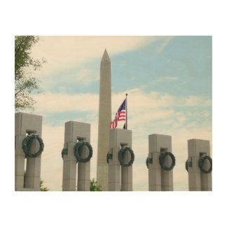 Washington Monument and WWII Memorial in DC Wood Prints