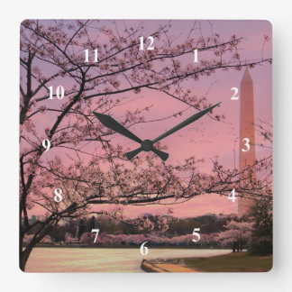 Washington Monument Cherry Blossom Festival Square Wall Clock