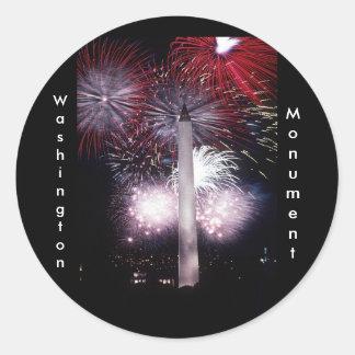 Washington Monument Fireworks Round Sticker