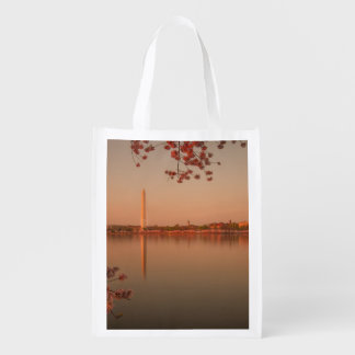 Washington Monument Sakura at sunset. Reusable Grocery Bag