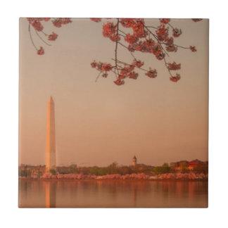 Washington Monument Sakura at sunset. Small Square Tile