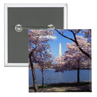 Washington Monument Through Cherry Blossoms 15 Cm Square Badge