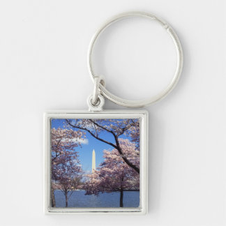 Washington Monument Through Cherry Blossoms Silver-Colored Square Key Ring