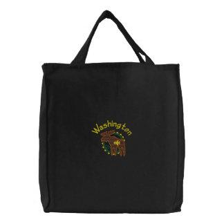 Washington Moose Embroidered Bag
