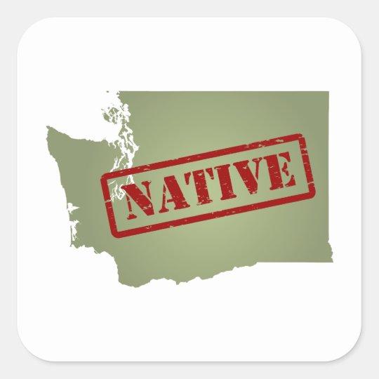 Washington Native with Washington Map Square Sticker